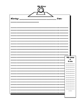 Teacher Meeting Notes (to include in custom lesson plan book)