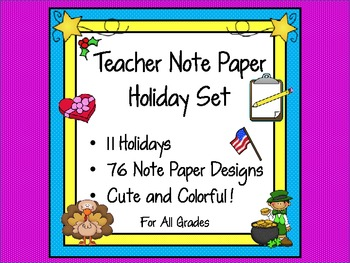 Note Paper Holidays Set for Teachers (11 Holidays Included) in 76 Designs