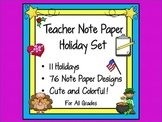 Note Paper Holidays Set for Teachers (11 Holidays Included