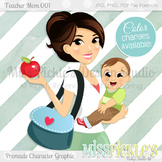 Teacher Mom 001, Teacher Avatar- Commercial Use Character Graphic