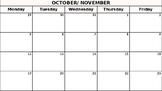 Teacher Monthly Calendar
