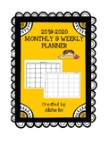 Basic Monthly and Weekly Teacher Calendar Planner 2017-18