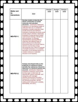 Teacher NGSS Checklist: Middle School Physical Science