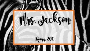 Teacher Name Sign - Zebra