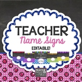 Teacher Name Signs Editable: Chalkboard and Glitter