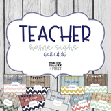 Teacher Name Signs Editable: Rustic