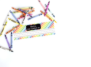 Teacher Name Tag Stock Photo with Crayons