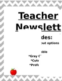 Teacher Newsletter Editable Template Gray Chevron Professional