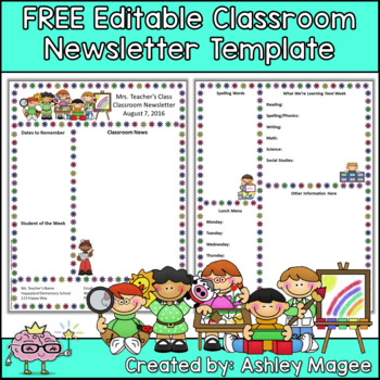 Free editable teacher newsletter template by mrs magee tpt for Free online newsletter templates pdf
