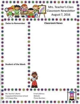Free Editable Teacher Newsletter Template By Mrs Magee TpT - August newsletter template