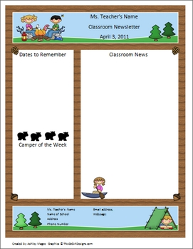 teacher newsletter template camping theme by mrs magee tpt