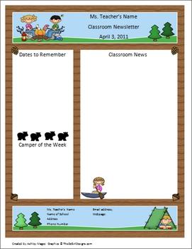 Teacher Newsletter Template - Camping Theme