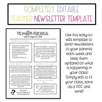 Teacher Newsletter Template - Completely Editable