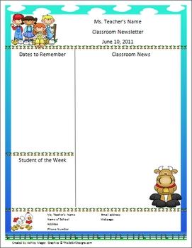 Teacher Newsletter Template - Farm Theme