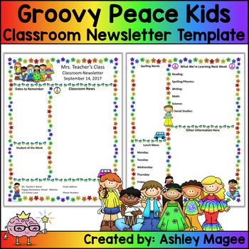Teacher Newsletter Template - Groovy Peace Hippie Kids Theme