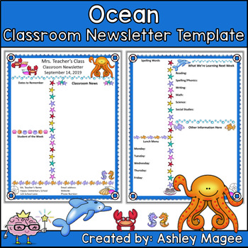 original-135375-1 Ocean Themed Newsletter Template on microsoft word, free printable monthly, free office, classroom weekly, fun company,
