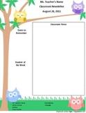 Teacher Newsletter Template - Owl Theme