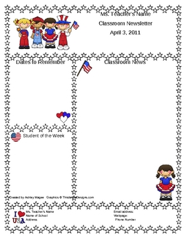 teacher newsletter template patriotic usa theme by mrs magee tpt