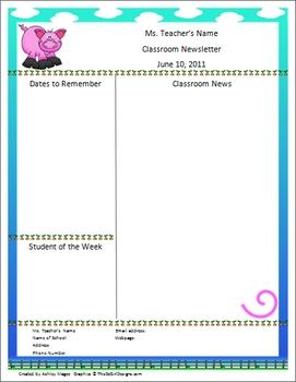 Teacher Newsletter Template - Pig Theme