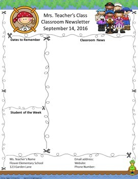 Pirate Pals Editable Newsletter template