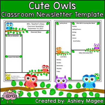 teacher newsletter template primary owls theme by mrs magee tpt. Black Bedroom Furniture Sets. Home Design Ideas