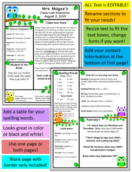 teacher newsletter template primary owls theme by mrs magee tpt