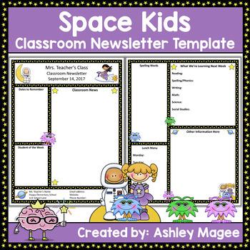 Teacher Newsletter Template - Space Theme
