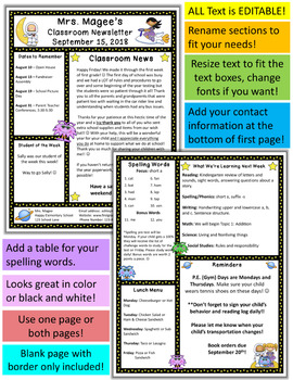 Teacher Newsletter Template - Space Kids Theme