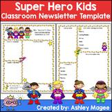 Editable Teacher Newsletter Template - Super Hero Kids Theme