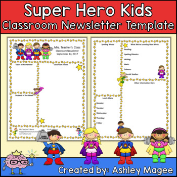 Editable Teacher Newsletter Template  Super Hero Kids Theme By Mrs