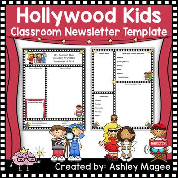 Editable Teacher Newsletter Template with a Hollywood Kids Theme