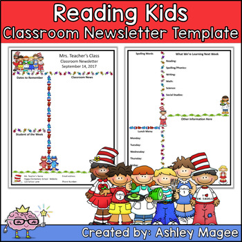 Teacher Newsletter Template with a Reading Kids Theme