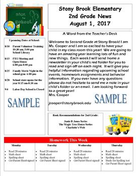 Teacher Newsletters Templates-Editable (August-December)