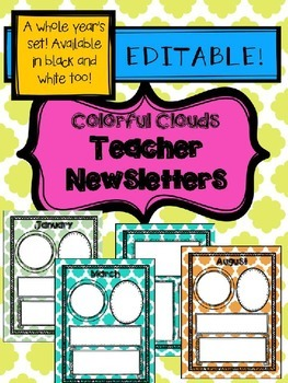 Teacher Newsletters- colorful clouds