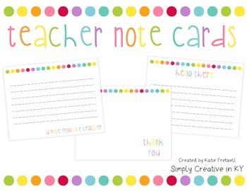 Teacher Note Cards