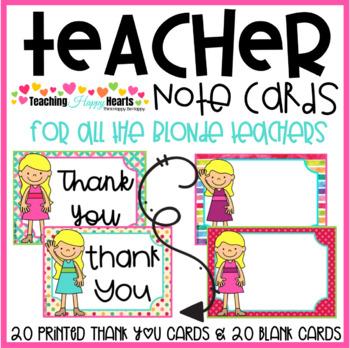 Teacher Note Cards {Blonde Hair}