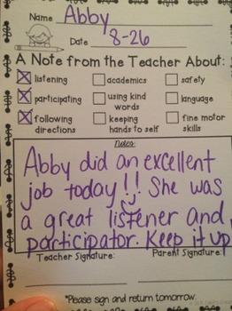 Teacher Note Home