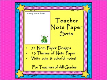 Teacher Note Paper Set - Simple Note Papers