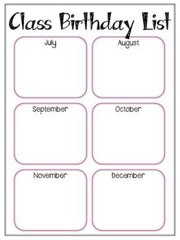 Teacher Notebook. Binder. Classroom Birthdays Page. Students