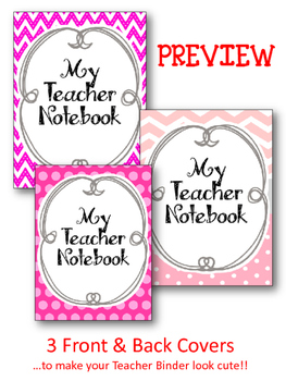 Teacher Notebook. Binder.  Cover and Dividers. Pink and Grey