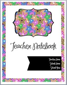 Teacher Notebook Cover (Multi Color Stars)