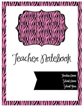 Teacher Notebook Cover (Pink Zebra Print)