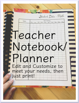 Editable Teacher Notebook/Planner/Calendar