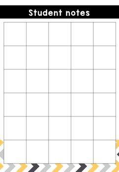 Teacher Notebook - yellow and grey chevron - Sept 2016 to June 2018