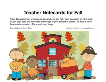 Teacher Notecards for Fall