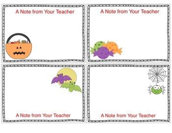 Teacher Notecards for Halloween