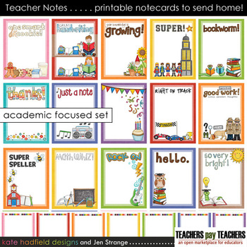 Teacher Notes - 15 printable ACADEMIC focused notecards