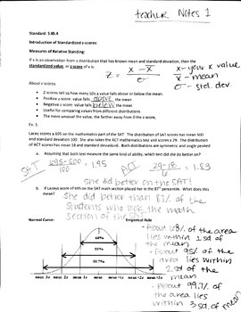 Teacher Notes for Common Core Alg 2 Statistics-Normal Distribution and Z-Scores