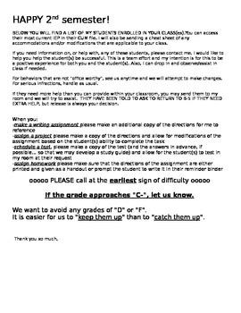 Teacher Notification of Caseload