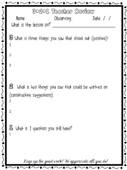 Teacher Observation: 3-2-1 Review
